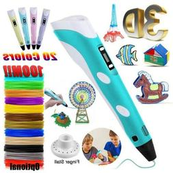 3D Printing Pen Drawing Crafting Modeling With LCD Screen+ P
