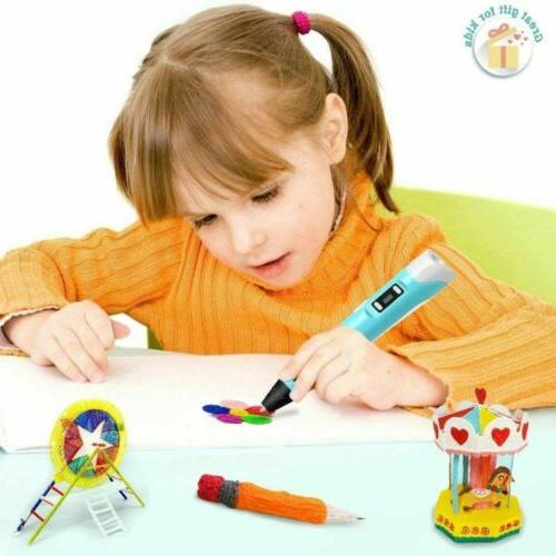 3D Printing Pen Filament Doodler Drawing Present Kids Toys Gift PLA/ABS