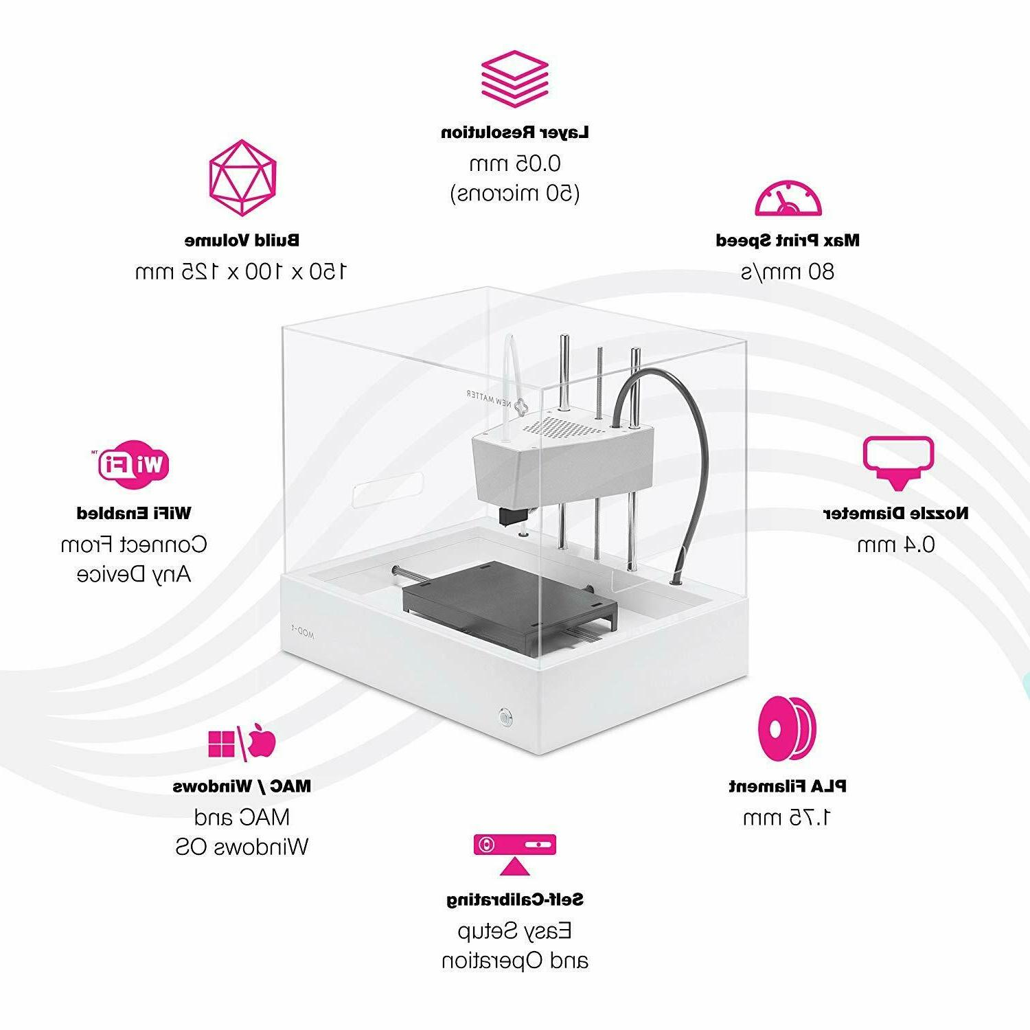 New Matter 3D Printer White Fused Filament Fabrication