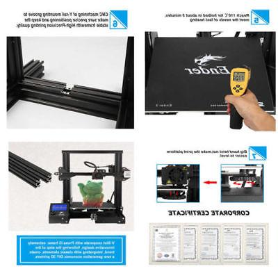 New Version Creality Ender 3 3D Printer With Removable Build Plate DC 24V
