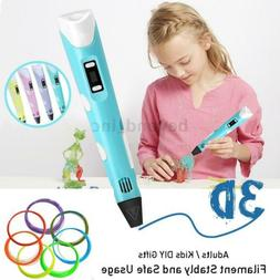 Non Toxic 3D Printing Pen with USB LED Drawing Printer + Fil