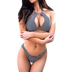 Allywit Women Sexy Floral Padded Lace-up Halter Knit Bikini
